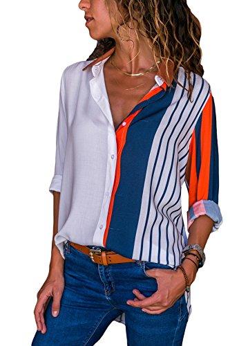 Aleumdr Mujer Blusa Cuello En V Camiseta Mangas Largas