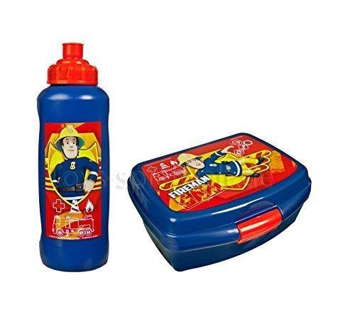 feuerwehrmann sam brotdose Brotdose mit Trinkfalsche Set Lunchbox Kinder Schule Pausenset Lunchset Dose: Farbe: Feuerwehrmann Sam