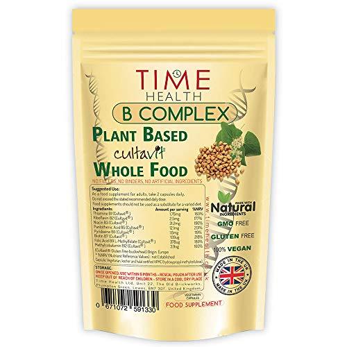 Vitamin B Komplex Hochdosiert - Pflanzenbasiertes 'Cultavit®' - Alle 8 B-Vitamine B1, B2, B3, B5, B6, B7 (Biotin), B9 (Folsäure) & B12 - Bioverfügbar - Vegan - Ohne Zusätze (120 Kapseln - Beutel) -