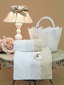 Blanc Mariclo - Panier macramé avec set serviettes