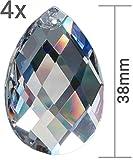 Kristall Sonnenfänger 4er Set Raute Kristallglas Tropfen Birndel 38mm Zum Aufhängen als Fensterschmuck & Zum Basteln Fengshui 30% PbO Bleikristall Mobiles