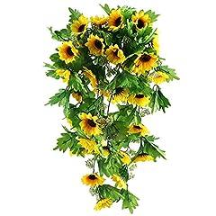 Idea Regalo - HUAESIN girasoli fiori finti 2 pezzi ghirlanda fiori finti Artificiale falso girasoli ghirlanda fiori di seta Vite per Matrimonio centrotavola di nozze bouquet altari decorazione Giallo