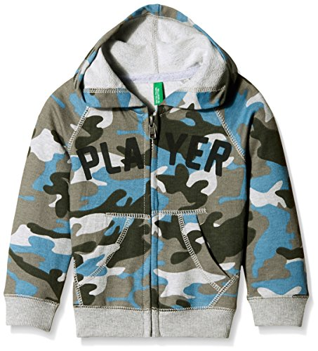 United Colors of Benetton Baby Boys' Sweater (15A3QE6C5103G901_Grey and Blue Camo _1Y)