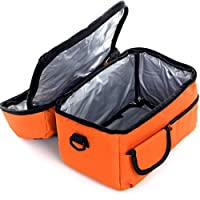 Fashion Lunch Box Bag Multifunctional, Long Time Cooler Bag, Large Size 2 Layers Insulated Cooler Compartment, Store Milk Medicine and Food When Outdoor Work or Travel (Orange)