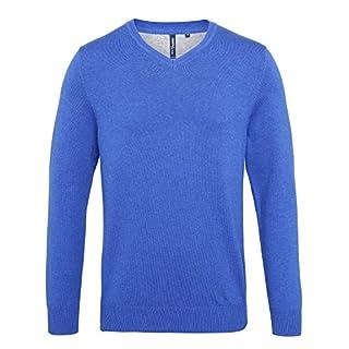 Asquith & Fox Men's Cotton Blend v-Neck Sweater Sweatshirt, Blue (Royal Heather 000), Large (Size:Large)