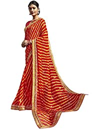 Vastrang Sarees Women's Georgette Stripe Bandhani Saree With Blouse Piece - CHN32423_Red_Free Size