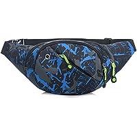 Riñonera lienzo 3-zipper Fanny Pack cintura bolsa con correa ajustable para correr Fitness ciclismo senderismo viajes Camping deportes (Blu)