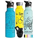 Vacuum Insulated Water Bottle with BPA Free Straw Lid Sports Cap Double Walled
