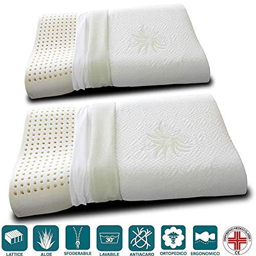 Evergreenweb - coppia cuscini lattice 100% cervicale con fodera aloe vera e cotone naturale, doppia onda ortocervicale, tessuto sfoderabile e lavabile, guanciali letto ortopedici per tutti materassi