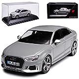 alles-meine GmbH Audi A3 RS3 8V 8VA Limousine Nardo Grau 3. Generation Ab 2012 Modell ab 2016 1/43 Kyosho i-Scale Modell Auto mit individiuellem Wunschkennzeichen