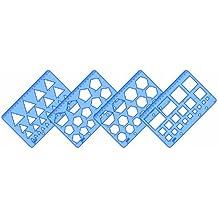 Helix H60010 - Juego de plantillas con regla (para matemáticas, geometría, química, diseño y tecnología, 4 unidades)