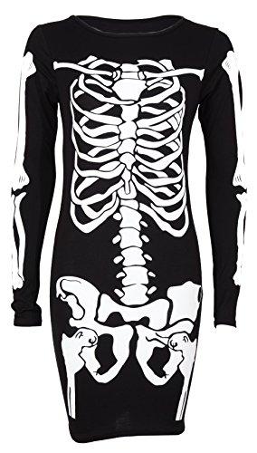 Top Fashion Damen Skeletts Druck Halloween Übergröße Figurbetontes Bodysuit ()