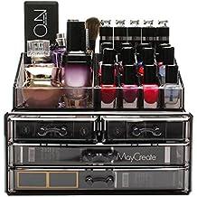 FOBUY Caja acrílica Estante de maquillajes Maquillaje Cosméticos Joyería Organizador (4 Drawers Clear ...