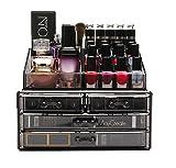 FOBUY Caja acrílica Estante de maquillajes Maquillaje Cosméticos Joyería Organizador (4 Drawers Clear C) (Gris humo)