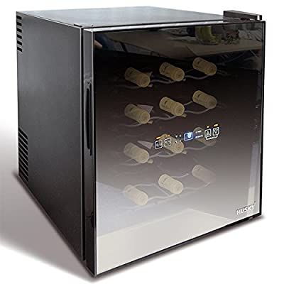 Husky HUS-HN5 16 Bottle Glass Door Counter Top Wine Chiller, Black
