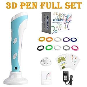 Plusinno® 3D Drucker Stift DIY Scribbler 3D Stereoscopic Printing Pen mit LCD-Bildschirm + 13 PLA Filament (10 verschiedene Farben) + 10 Papier Modelle für die Praxis der EU