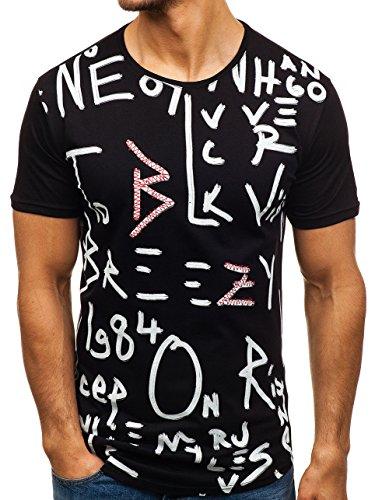 BOLF Herren Kurzarm T-Shirt Tee Slim Fit Print Sport Style Breezy 181071 Schwarz XXL [3C3]
