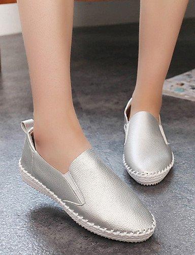 ShangYi gyht Scarpe Donna - Mocassini - Tempo libero / Ufficio e lavoro / Formale / Casual - Ballerina - Piatto - Scamosciato - Nero / Bianco / Argento Silver