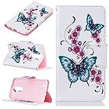LG K8 Hülle Leder Flip Case Schmetterling Blumen Muster, LG K8 / K7 Lederhülle Protective Cover Ledertasche Handyhülle Wallet Brieftasche Tasche Schutzhülle mit Kartenfach Standfunktion, Weiß
