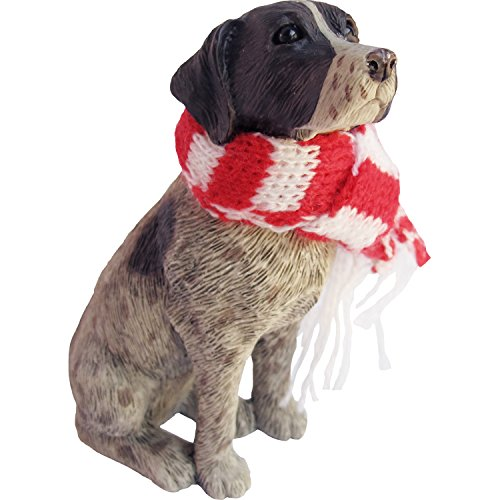 Sandicast German Shorthaired Pointer with Red and White Scarf Christmas Ornament -