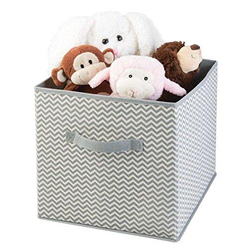 mDesign Aufbewahrungsbox aus Stoff – Ordnung im Kleiderschrank – große Box für Spielzeug, Kleidung oder Bettwäsche Aufbewahrung – grau/creme