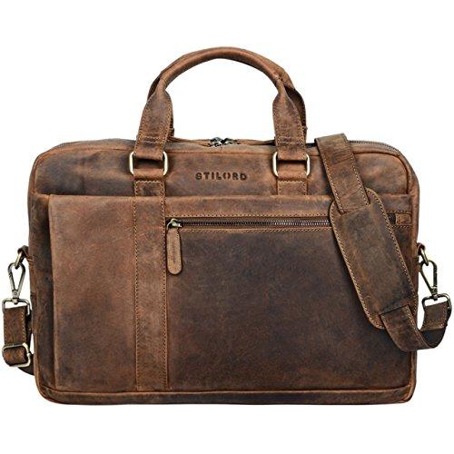 STILORD \'Nico\' Vintage Umhängetasche Leder Herren Damen 15,6 Zoll Laptoptasche groß Aktentasche Arbeit Büro Uni echtes Rindsleder, Farbe:mittel - braun