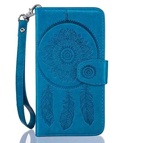 iPhone 7Plus custodia, con protezione per lo schermo in vetro temperato] antigraffio, fatcatparadise (TM) Custodia posteriore in silicone morbido, elegante vintage Pressed vento campana Acchiappasogn Blue