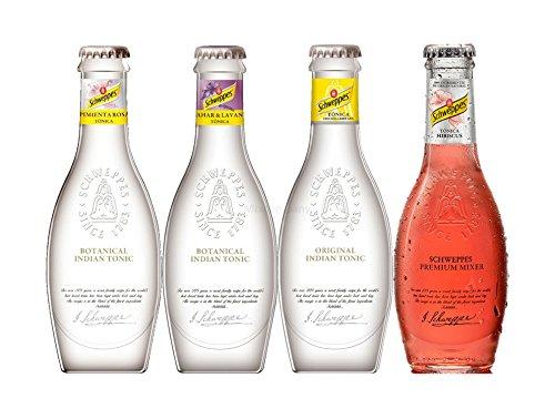Schweppes Premium Mixers Set - Tonic Water + Orange Blossom Lavendel Tonic + Pink Pepper Tonic + Hibiscus Tonic - je 200ml