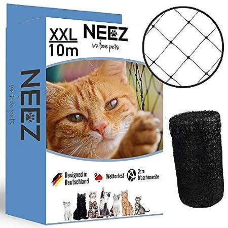 NEEZ XL Katzennetz für Balkon & Fenster I Robustes Schutznetz inkl. Befestigungsset (3 x 6 Meter)
