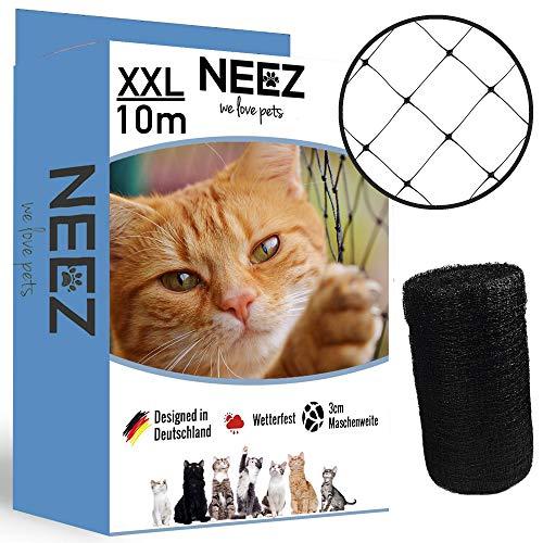 Rete per gatti NEEZ XL per balconi e finestre I Robusta rete di sicurezza incl. set di fissaggio I Fissaggio della rete di protezione per gatti per balconi senza foratura I Dimensioni 2,5x10m
