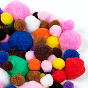 Creation Station Pom Poms Assorted Colours & Sizes (100)