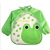 #10: Online Monk Baby Accessories - Sleeved Washable Waterproof Bib Apron for Babies & Kids - Type Green Froggy