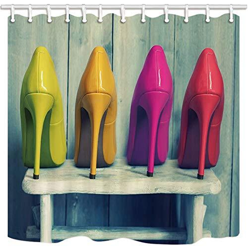 GoHEBE Teen Girl Vorhang für die Dusche von wunderschönen Farben hochhackige Schuhe Holz Hintergrund Badezimmer Polyester-Schimmelresistent-Wasserdicht Duschvorhang Set mit Haken 180x180cm (Glitter Hintergrund Teal)