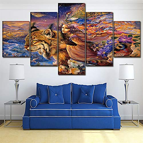 mmwin Wald Tier Moderne Home Wandkunst Rahmen Dekor Bilder HD Gedruckt 5 Stücke Abstrakte Tier Hund Leinwand Malerei Für Wohnzimmer Poster 40x60 40x80 40x100 cm