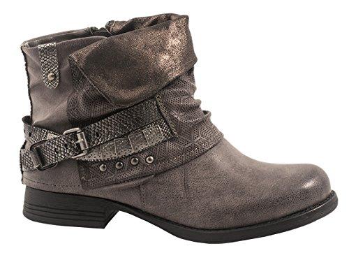 Elara Damen Biker Boots | Metallic Prints Schnallen | Nieten Stiefeletten Lederoptik | Gefüttert F275-Grau-39