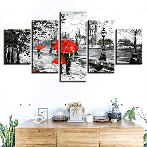 jqnxww Canvas Painting Wall Art Prints 5 Pieces Red Umbrella Lover Poster London Street Rain View Pictures Wohnzimmer Retro Home Decor