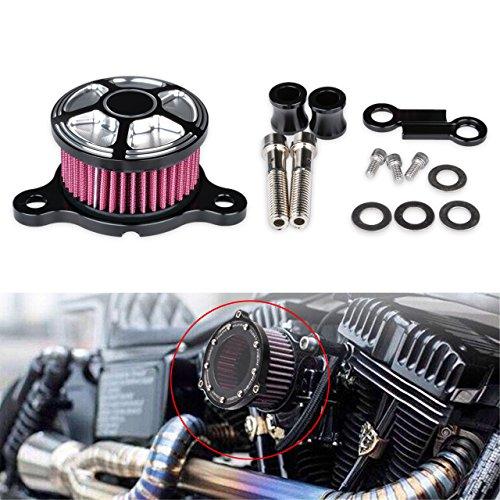 TUINCYN Universal Motorrad Air Filter Lufteinlass Filter System mit CNC Schwarz Chrom Befestigung Craft für Harley Davidson Sportster XL883/1200x 482004-2014Scooter (1Stück) -