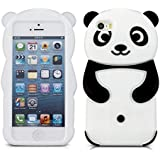 kwmobile Hülle für Apple iPhone SE / 5 / 5S - TPU Silikon Backcover Case Handy Schutzhülle - Cover klar Panda Design Schwarz Weiß