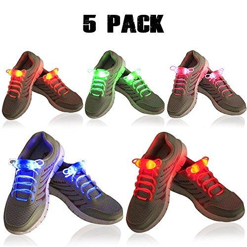 5x LED Schnürsenkel, 2win2buy Leuchtende Schuhbänder 5 Farben 3 Lichtmodi Blinkend Flash Leucht Schuhband für Party Tanz Radsport Klub Disco Joggen Konzert Geburtstag Geschenk (Grün-flash-schuhe)