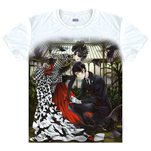 Bromeo Black Butler Anime Kostüm Short Sleeves Kurze Ärmel Tee T-Shirt (Black Butler Mey Rin Cosplay Kostüm)