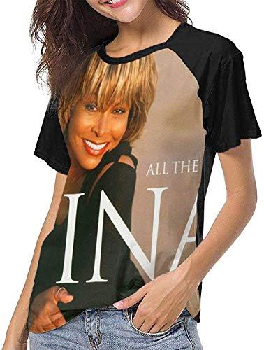 Ovilsm Damen Tina Turner All The Best Turner Tina Womens Short Sleeve Raglan Baseball T Shirt Black