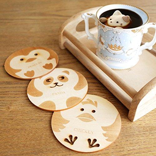 3pcs assortiti in legno sottobicchiere Cup Mat, resistente al caldo Pad