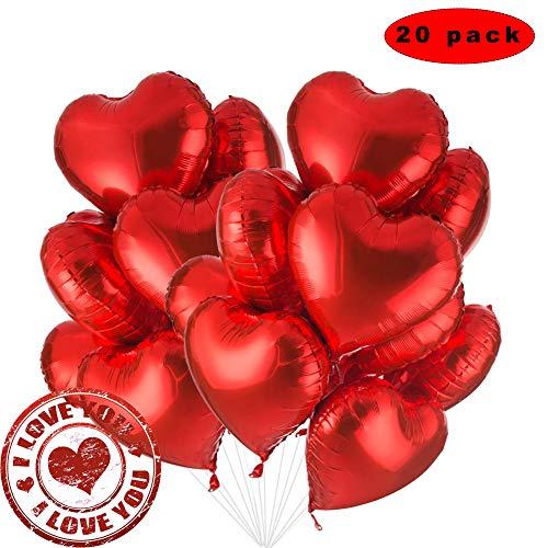 Sunshine smile 20 STK 18 Zoll Rot Herz Folienballon,Herz Helium Luftballons,Folienballon Hochzeit ,Folienluftballon,Herz Ballons (Rot)