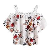 iLPM5 Damen Spitze Drucken Einfach Ärmellose Tanktops Beiläufig Schulterfrei Oberteile Sommer Herbst T-Shirt Weste Blusen(Weiß-2,L)
