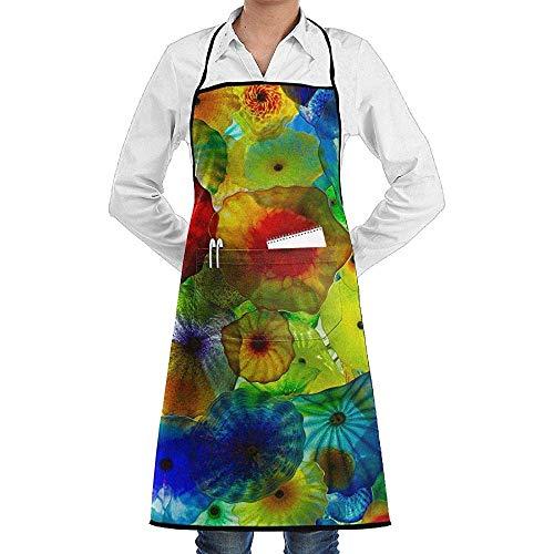 Muster Kostüm Quallen - UQ Galaxy Schürze,Bunte Quallen Schürze Lace Unisex Chef verstellbare Lange vollschwarze Küche Schürzen Lätzchen mit Taschen für BBQ Backen Crafting