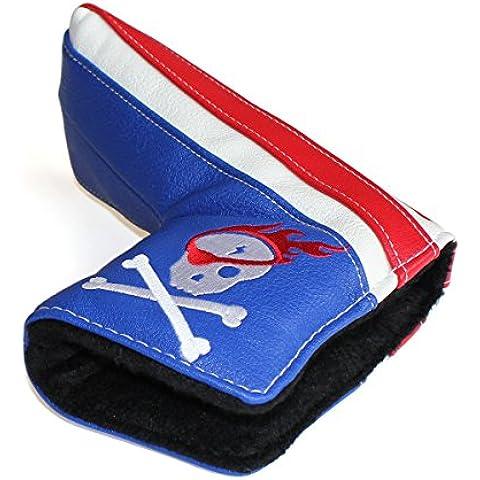 Craftsman Golf Calavera Pirata Blanco, Azul y Rojo Hoja Cierre magnético, cubierta para Putter de golf para Scotty Cameron Taylormade Odyssey