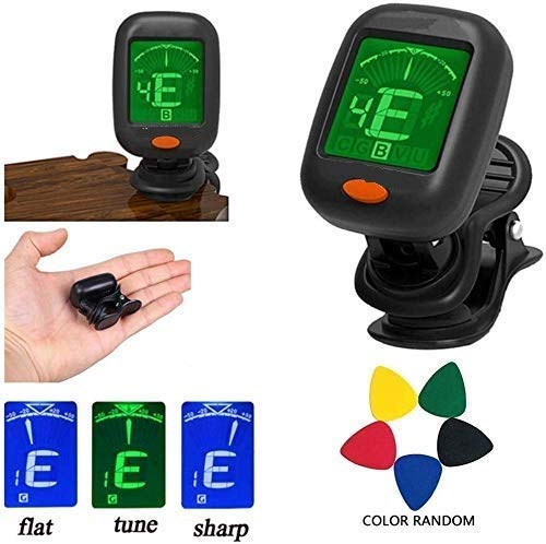 Urban Infotech Guitar Tuner 360 degree Rotational Electronic Digital Tuner Easy to Use Highly Accurate Clip-on Tuner - Best for Acoustic and Electric Guitar Bass Violin Ukulele(5PCS Picks) Design may very