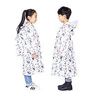 ALLLHMKS Children Raincoat Kindergarten Boys Girls Outdoor Backpack Poncho (color : White, Size : XL)