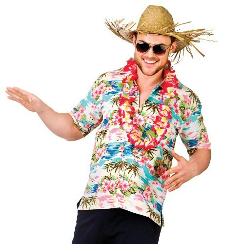 Flower & Palm Trees (XL) Fancy Dress Stag Costume (Halloween Hawaii-shirt)