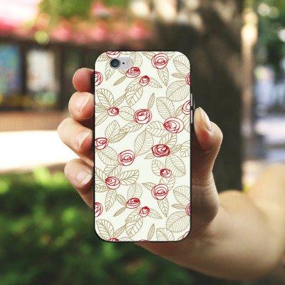 Apple iPhone X Silikon Hülle Case Schutzhülle Rosen Blumen Blätter Silikon Case schwarz / weiß